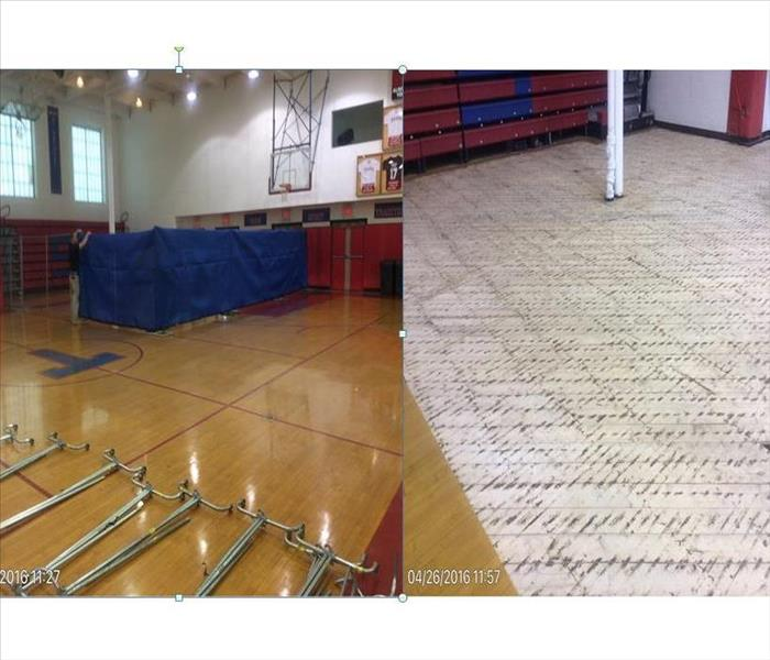 Basketball court flooded caused by hot water tank leaking